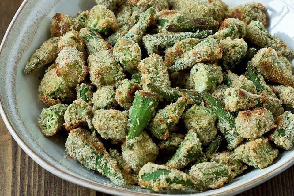 Oven-fried Okra
