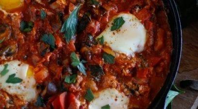 One-Skillet Kale Tomato Egg Bake
