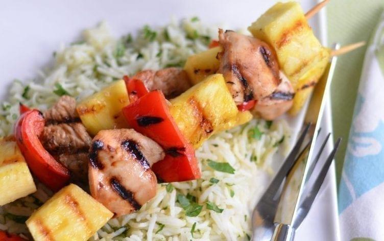 Hawaiian Chicken Kebabs & Cilantro Ginger Rice