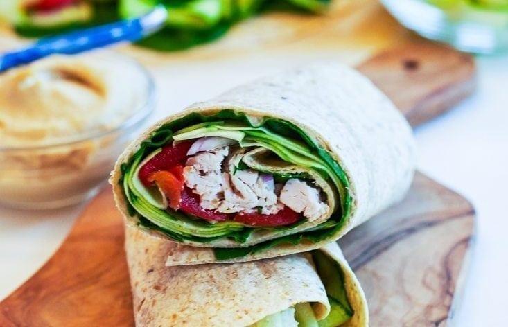 Zucchini-Hummus Chicken Wrap