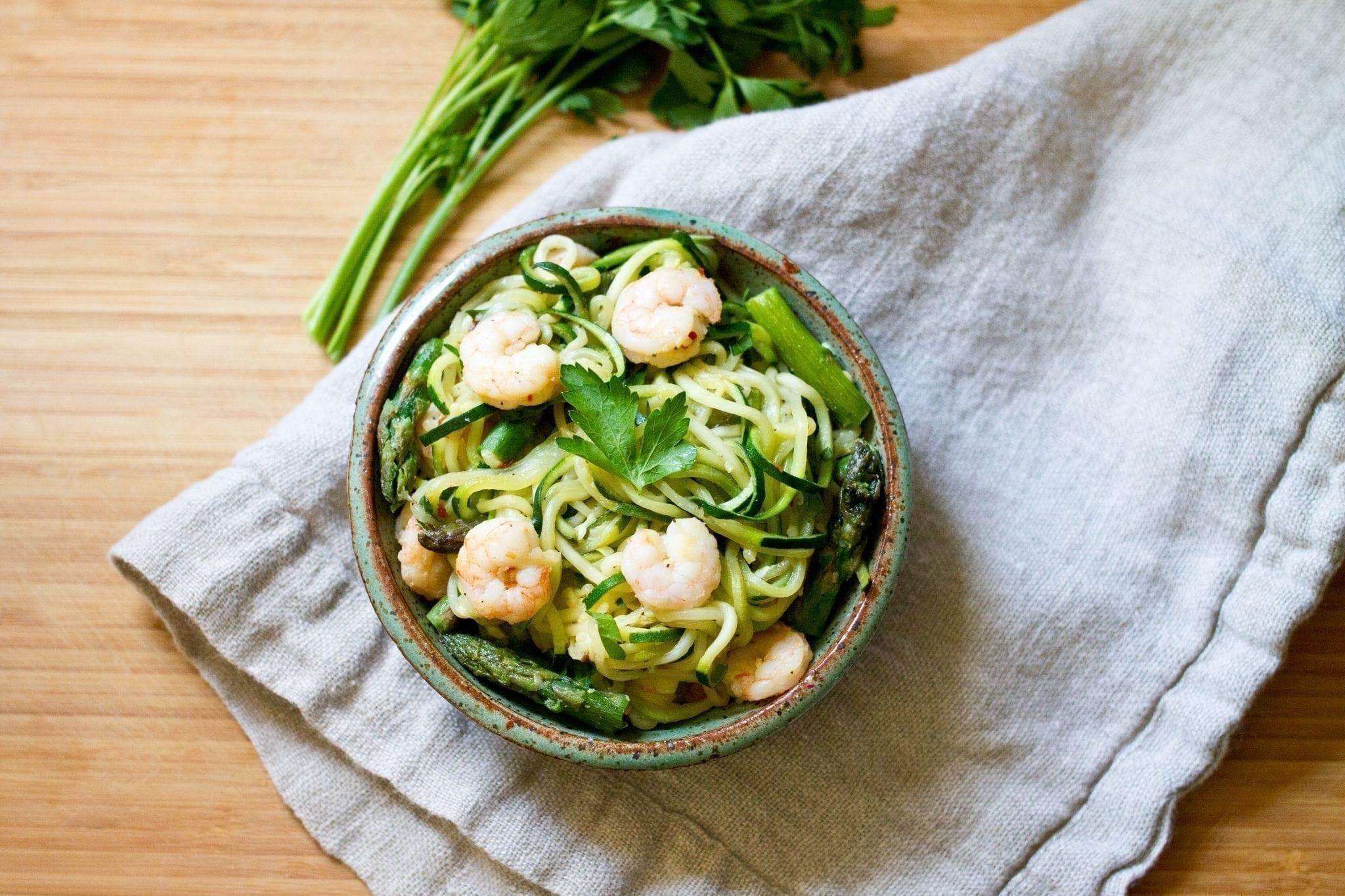 Shrimp & Asparagus Zoodle Pasta