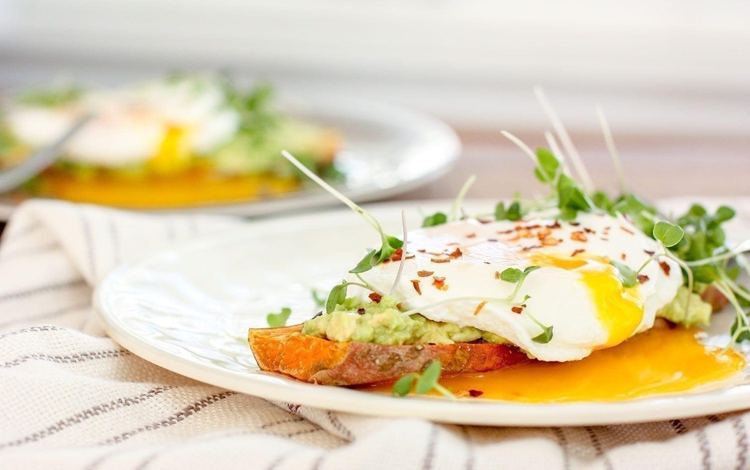Avocado Sweet Potato Toast with Poached Egg