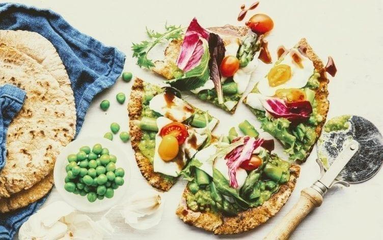 Asparagus and Pea Pesto Salad Pizza