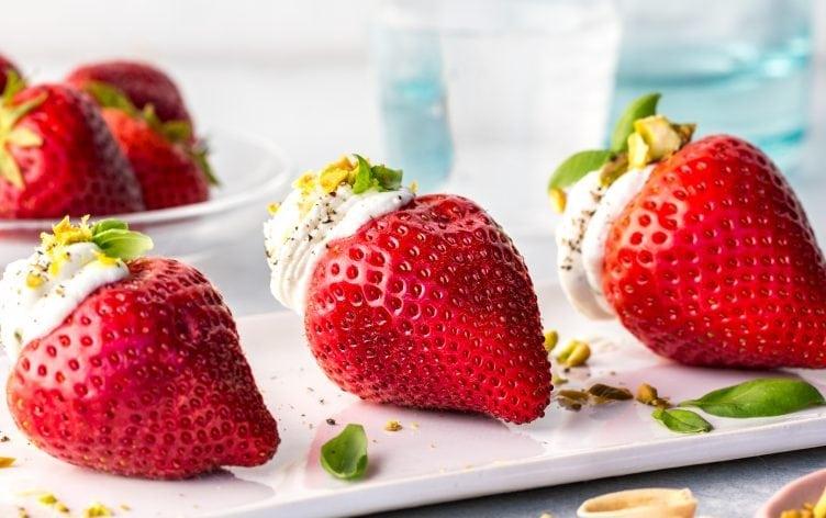 Chèvre and Basil Stuffed Strawberries