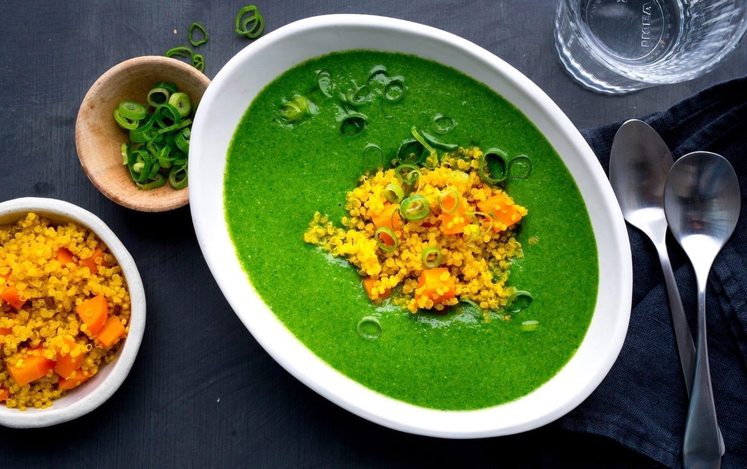 Creamy Spinach Soup With Golden Quinoa