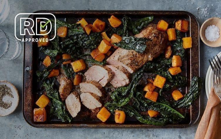 Sheet Pan Roasted Pork, Butternut Squash and Kale