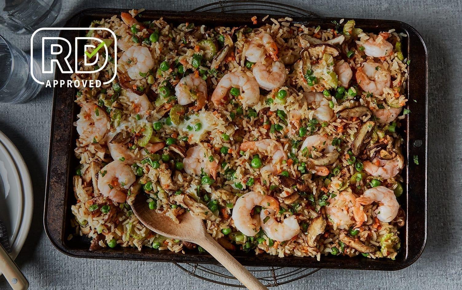 Sheet Pan Shrimp Fried Rice