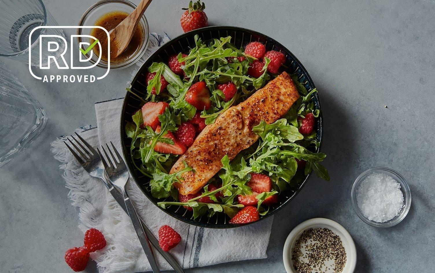Air Fryer Salmon With Arugula-Berry Salad