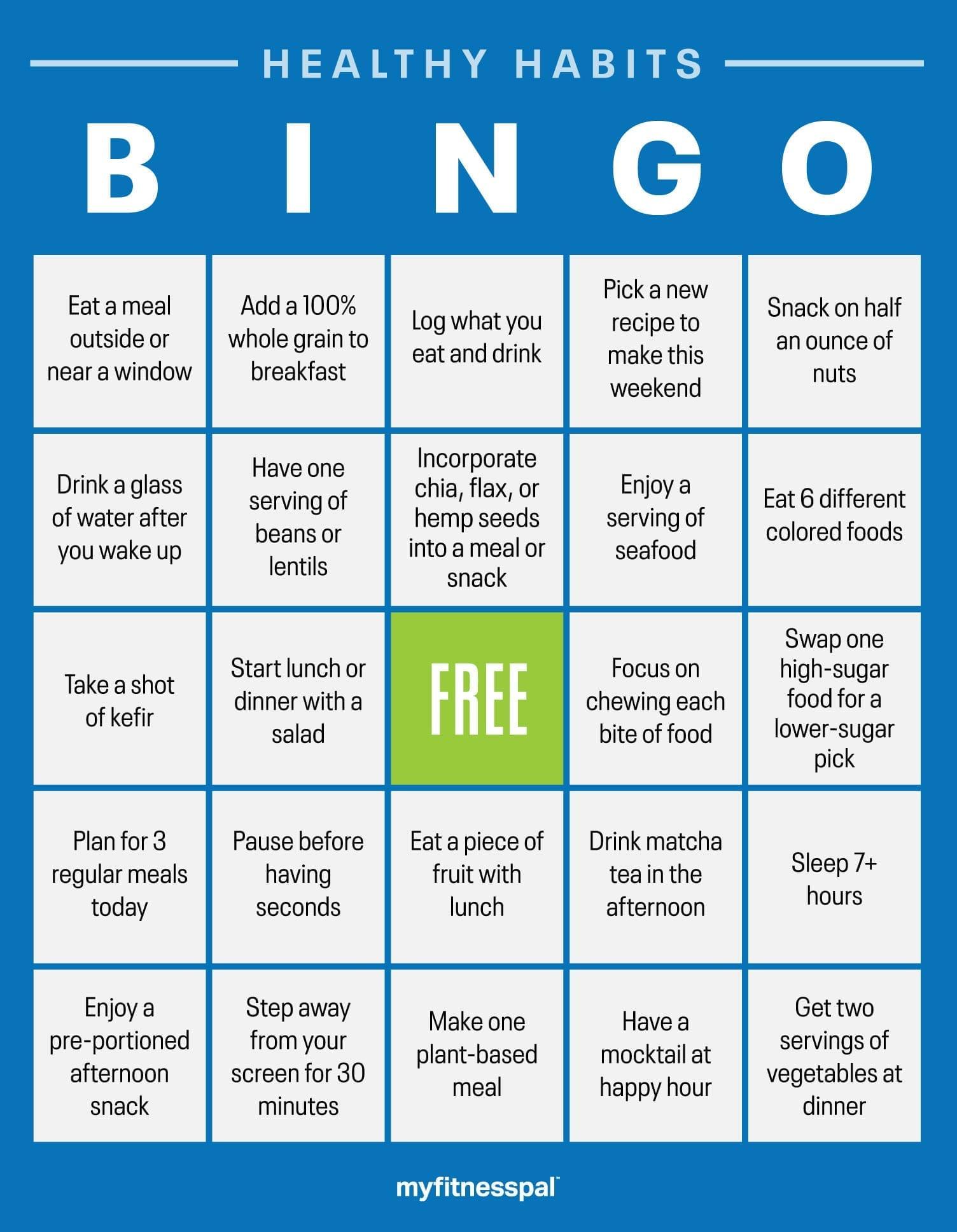 Healthy Habits Bingo Challenge